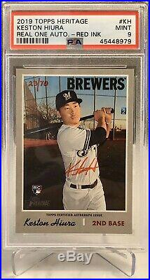 2019 Topps Heritage Real One Red Ink Autograph Auto Keston Hiura RC PSA 9 /70