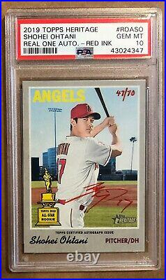 2019 Topps Heritage Shohei Ohtani Real One Auto Autograph Red Ink Psa 10 47/70