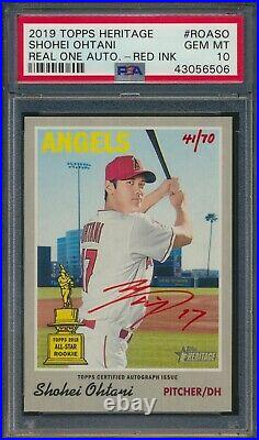 2019 Topps Heritage Shohei Ohtani Real One Auto Red Ink /70 Angels #SO PSA 10