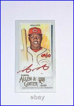 2020 Allen & Ginter Aristides Aquino Cincinnati Reds Mini Red Ink Auto Rc 9/10