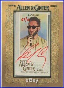 2020 Allen & Ginter Jared Carrabis Red Ink Mini Auto 7/10 OTC Autograph (MA-JCA)
