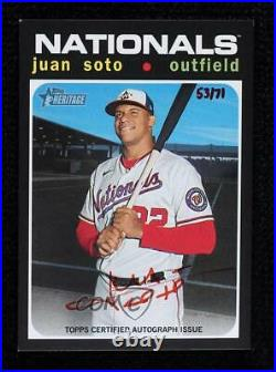 2020 Heritage High Number Real One Special Edition Red Ink /71 Juan Soto Auto