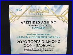 2020 Topps Diamond Icons Aristides Aquino Auto 1/10 Red Ink SSP Rookie RC