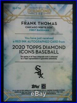 2020 Topps Diamond Icons Auto Red Ink RED RI-FTH Frank Thomas White Sox 1/5