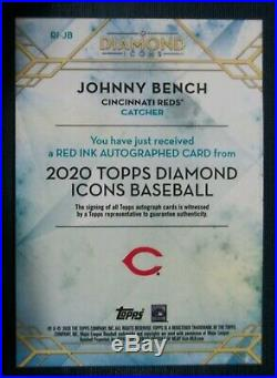 2020 Topps Diamond Icons Auto Red Ink RI-JB Johnny Bench Cincinnati Reds 7/15
