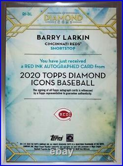 2020 Topps Diamond Icons Barry Larkin #RI-BL Red Ink Auto #2/5 Cincinnati Reds