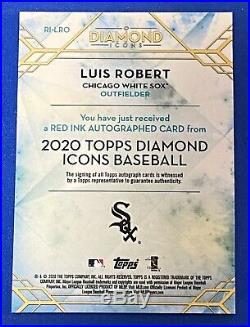 2020 Topps Diamond Icons Luis Robert Red Ink RC Auto 4/5 White Sox SP # LI-LRO