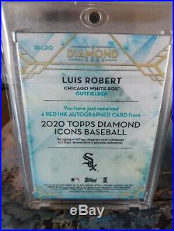 2020 Topps Diamond Icons Red Ink Auto Card Luis Robert RC 1/5 Chicago White Sox