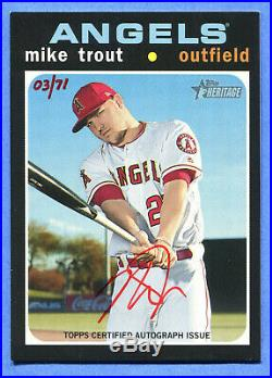 2020 Topps Heritage Mike Trout RED INK AUTO #03/71 Angels ROA-MT