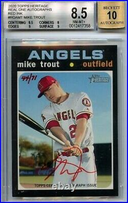 2020 Topps Heritage Real One Auto Red Ink #ROAMT Mike Trout 44/71 BGS 8.5/10