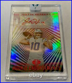 2020 panini illusions football Rc Auto Justin Herbert Sp Vrt Red Ink /50 Charger