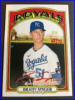 2021 Topps Heritage Brady Singer RC Red Ink Auto #/72 ROA-BS