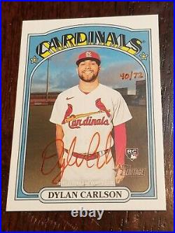 2021 Topps Heritage Dylan Carlson Rc Auto Red Ink Ssp 40/72 Cardinals Rookie