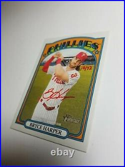 2021 Topps Heritage Real One Autographs Red Ink Bryce Harper #ROA-BH #10/72 Rare