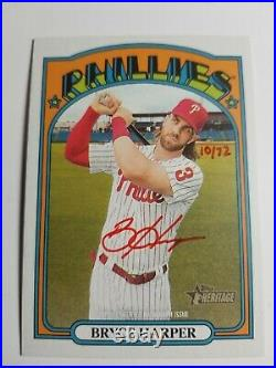 2021 Topps Heritage Real One Autographs Red Ink Bryce Harper #ROA-BH #28/72 Rare