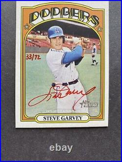 2021 Topps Heritage Real One Red Ink AUTO STEVE GARVEY 33/72 Dodgers WOW