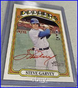 2021 Topps Heritage Real One Red Ink Autograph Auto STEVE GARVEY 14/72 Dodgers