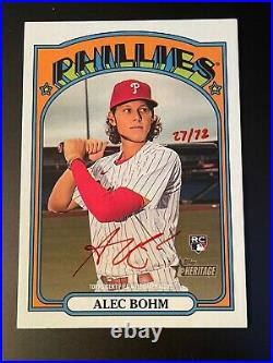 ALEC BOHM 2021 Topps Heritage Real One RED INK Autograph Rookie Auto 27/72! RARE