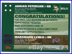 Adrian Peterson Marshawn Lynch 2007 Topps Premiere Red Ink Dual Auto Rookie /10