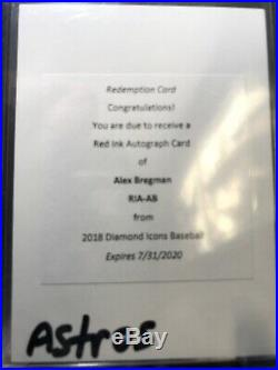 Alex Bregman 2017 Topps Diamond Icons Red Ink Auto /25 ASTROS Redemption