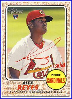 Alex Reyes 2017 Topps Heritage Red Ink Autograph #/68 Auto Rookie Rc Cardinals