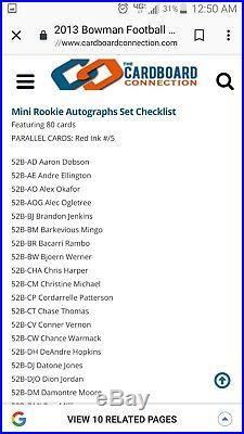 BGS 9.5/10 1/1 RC AUTO DEANDRE HOPKINS /5 RED INK ROOKIE'52 RETRO 2013 Bowman