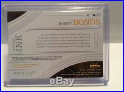 Barry Bonds 2016 Immaculate Collection Hitters Ink Sp # 02/10 Auto Rare Red Foil