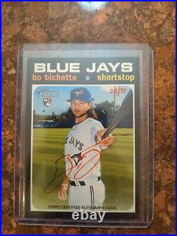 Bo Bichette 2020 Topps Heritage Red Ink Auto 38/71 Rookie RC Blue Jays