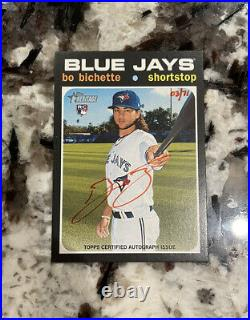 Bo Bichette 2020 Topps Heritage Red Ink Auto /71 Rookie RC Blue Jays