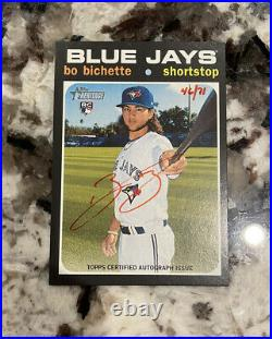 Bo Bichette 2020 Topps Heritage Red Ink Auto /71 Rookie RC Blue Jays L2