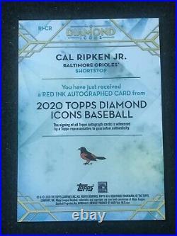 CAL RIPKEN JR. 2020 TOPPS DIAMOND ICONS RED INK AUTO #d 2/5 SP ORIOLES HOF