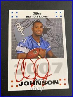 Calvin Johnson 2007 Topps Rookie Premiere RC Auto Autograph Red Ink SP HOF
