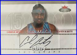 Carmelo Anthony /225 RC Auto 2003/04 Fleer Mystique Ink Appeal Red Rookie Sharp