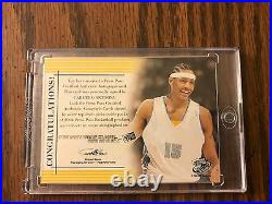 Carmelo Anthony RC Rookie SP RED INK AUTOgraph RARE ON CARD AUTO EBAY 1/1