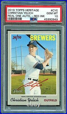 Christian Yelich 2019 Topps Heritage Red Ink Real One Auto /70 Psa 10 Pop 9
