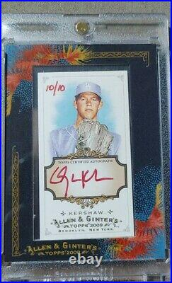 Clayton Kershaw 2009 Topps Allen & Ginter 2nd Year Rookie Red Ink Auto /10 RARE