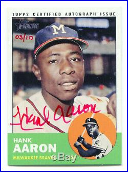 HANK AARON 2012 Topps Heritage Real One Red Ink Auto Autograph AU HOF SP 3/10