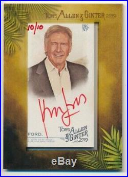 Harrison Ford 2019 Topps Allen & Ginter Red Ink Autograph Star Wars Auto #10/10