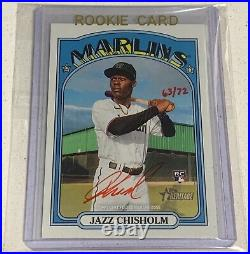 Jazz Chisholm Miami Marlins Topps Heritage Rookie On Card Red Ink Auto #63/72