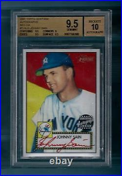 Johnny Sain 2001 Topps Heritage Red Ink Autograph /52 Bgs 9.5 Gem Mint 10 Auto