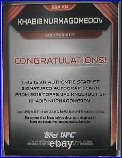 Khabib Nurmagomedov 16/25 Scarlet Signatures Red Ink Auto Autograph Topps UFC KO