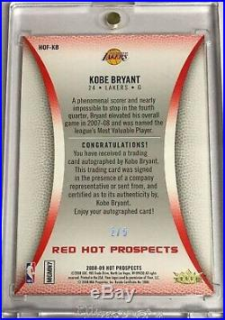 Kobe Bryant 2007-08 Fleer Hot Prospects Silver Ink Auto RED HOT Road HOF /5 1/1