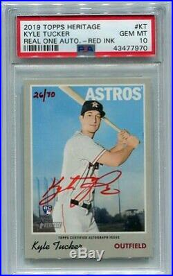 Kyle Tucker 2019 Topps Heritage Red Ink Auto Autograph RC /70 PSA 10 Astros