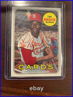 Lou Brock 2018 Topps Heritage Real One RED INK on-card Autograph Auto #'d 41/69