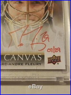 Marc-Andre Fleury 2018 Upper Deck Clear Cuts UD Canvas Auto Red Ink 7/29 Encased