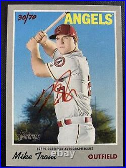 Mike Trout 2019 Topps Heritage Real One Red Ink SP On-Card Auto 30/70