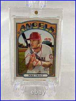 Mike Trout 2021 Topps Heritage Base Auto ROA- MT RED INK /72 Real One