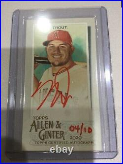 Mike Trout Mini Red Ink Auto RIP Exclusive 4/10 2020 Allen & Ginter