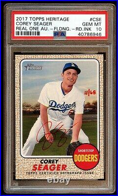 Psa 10 Corey Seager 2017 Topps Heritage Auto Red Inks /68 Autograph Dodgers