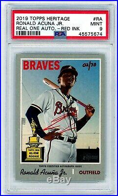 RONALD ACUNA 2019 Topps Heritage High Real One Red Ink Auto Autograph /70 PSA 9